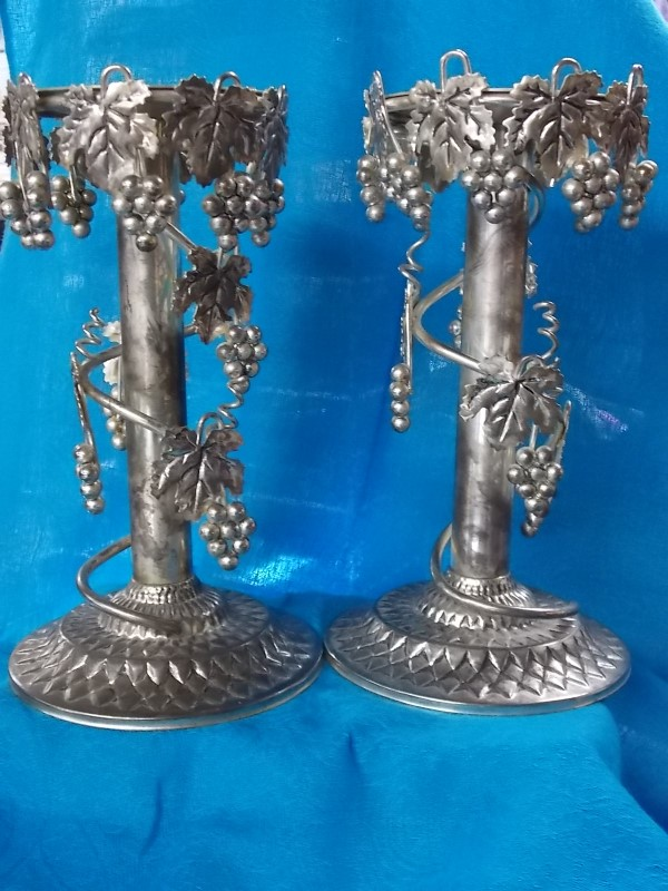 PAIR OF STUDIO SILVERSMITH GRAPEVINE CANDLESTICK HOLDERS