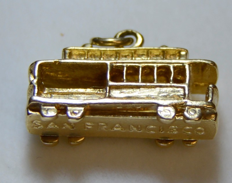 14K Yellow Gold 3D San Francisco Trolley Car Charm Pendant