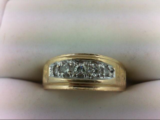 Lady's Diamond Wedding Band 5 Diamonds 0.19 Carat T.W. 14K Yellow Gold 5.8g Size