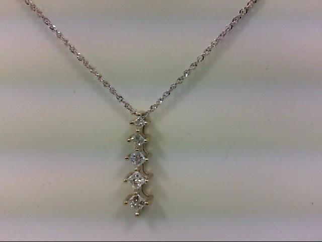 Gold-Multi-Diamond Pendant 5 Diamonds .40 Carat T.W. 14K Yellow Gold 2.44g