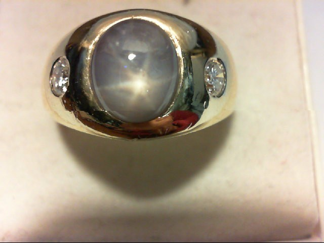 Star Sapphire Gent's Stone & Diamond Ring 2 Diamonds 0.3 Carat T.W. 14K Yellow G