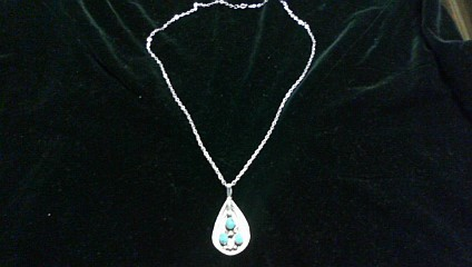 Turquoise Stone Necklace 925 Silver 6.2dwt