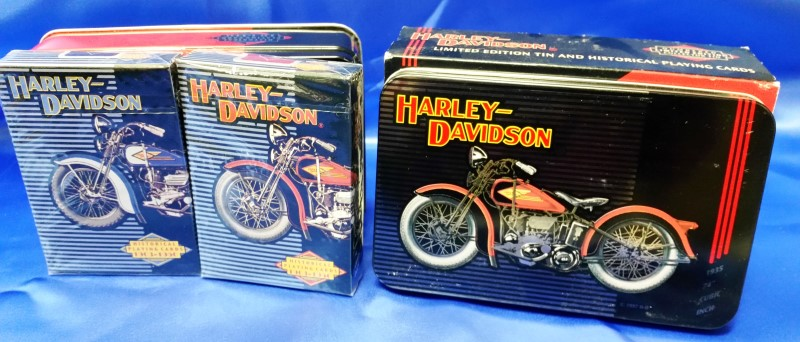 HARLEY DAVIDSON 2 DECK PLAYING CARD IN COLLECTORS TIN