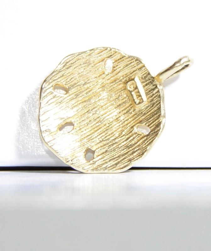 14K Yellow Gold Diamond Cut Textured Sparkling Sea Sand Dollar Pendant