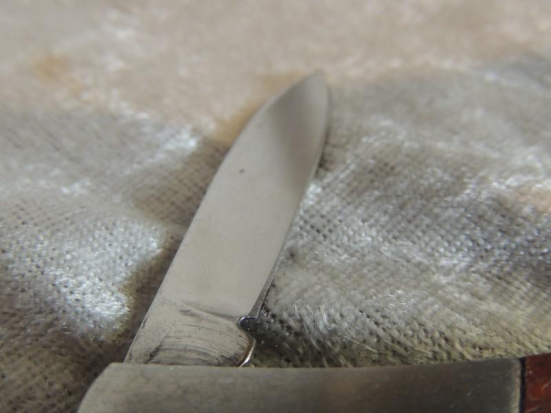 "FIRESTONE WOOD / STAINLESS HANDLED POCKET KNIFE 1 1/2"" BLADE VINTAGE EUC"