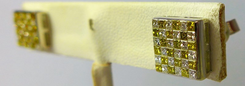 Gold-Diamond Earrings 72 Diamonds .72 Carat T.W. 10K White Gold 4g