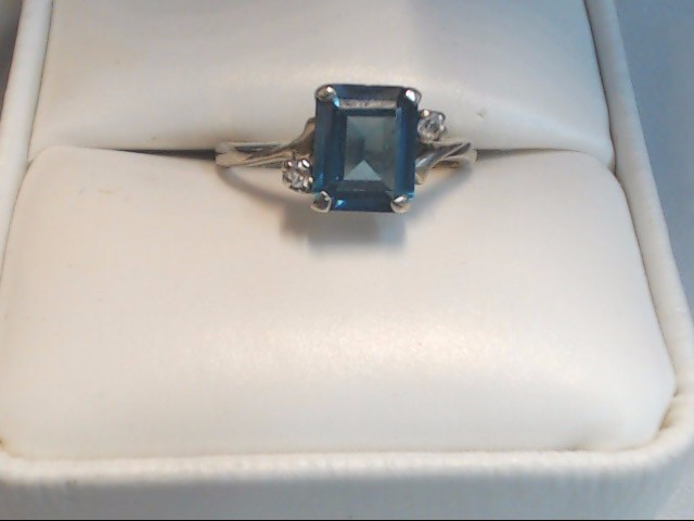 Blue Stone Gent's Stone Ring 10K White Gold 1.9g Size:5.8
