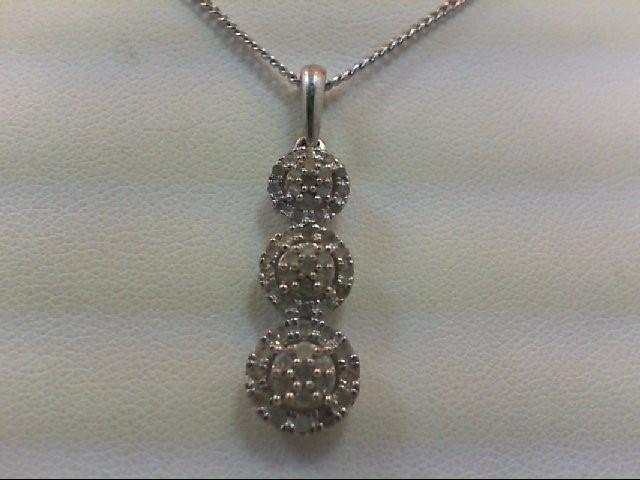 Silver-Diamond Pendant 21 Diamonds .21 Carat T.W. 925 Silver 4.3g