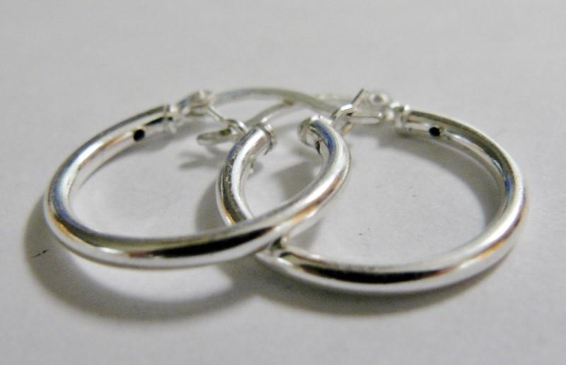 Silver Hoop Earrings 925 Silver 1.2dwt