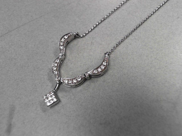 Diamond Necklace 25 Diamonds .34 Carat T.W. 14K White Gold 4.16g