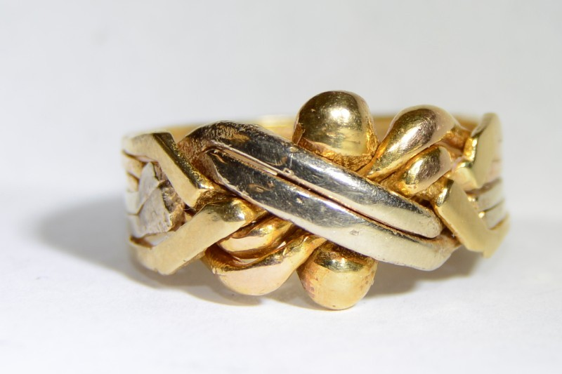 14K Tri-Color Gold Puzzle Ring Size 12 *Bands Have Been Soldered*