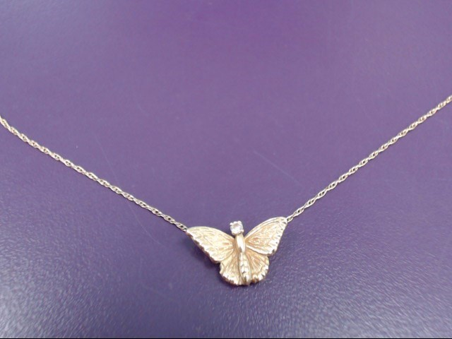 """GOLD BUTTERFLY PENDANT 18KT Yellow Gold 1.7 GRAMS, WITH 1 GRAM 14KT. 16"""" CHAIN"""