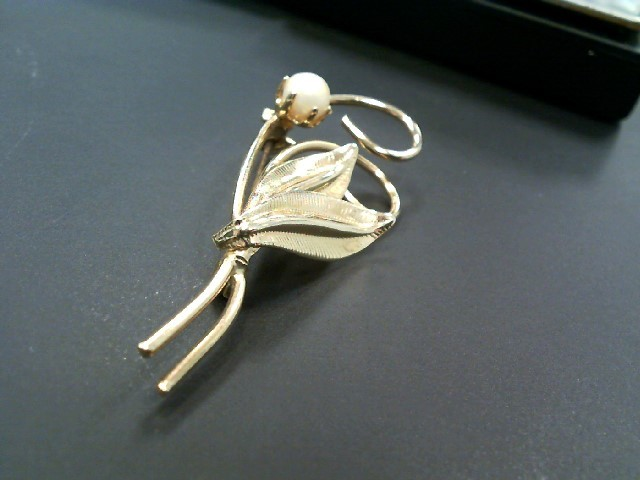 Synthetic White Stone Gold-Stone Brooch Yellow Gold Electroplate 4.7g
