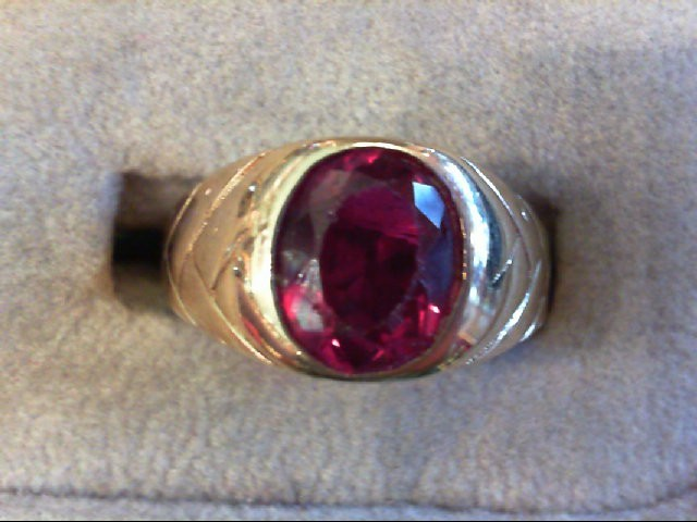 Pink Stone Gent's Stone Ring 14K Yellow Gold 4.1g