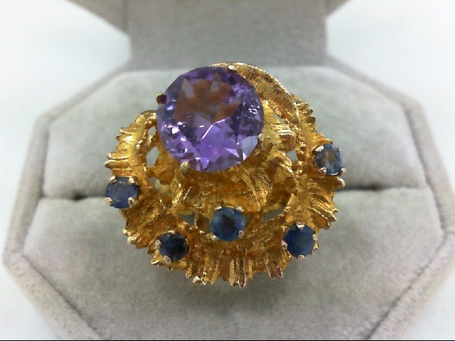 Amethyst Lady's Stone Ring 14K Yellow Gold 8.8g