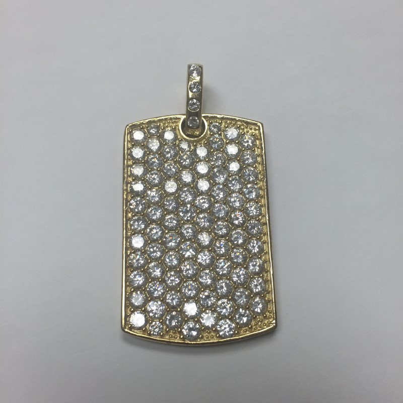Gold Plated Sterling Silver Cubic Zirconia Dog Tag Pendant 925 21.2dwt