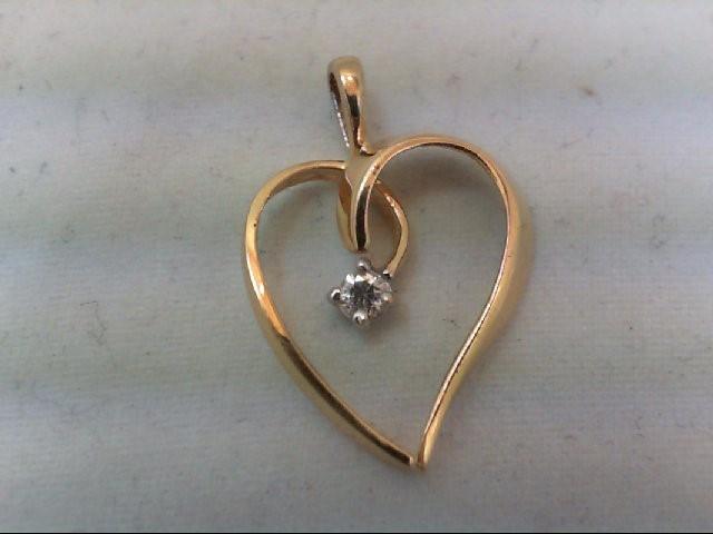 Gold-Diamond Solitaire Pendant .08 CT. 14K Yellow Gold 1.4g