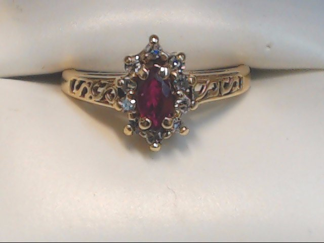 Red Stone Lady's Stone & Diamond Ring 10 Diamonds .30 Carat T.W.
