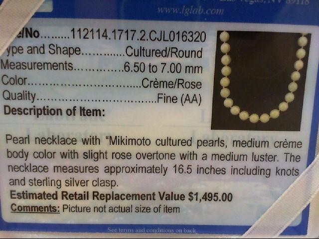 """Mikimoto 16.5"""" Pearl Strand Stone Necklace 925 Silver 28.3g"""