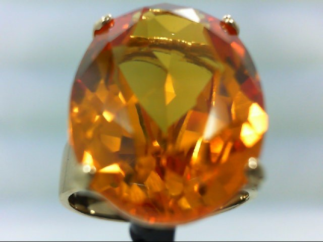 Padparadscha Sapphire Lady's Stone Ring 14K Yellow Gold 11.19g Size:9.25