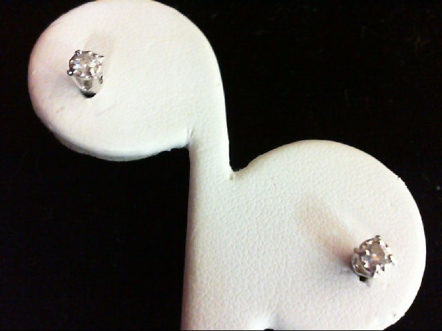 Gold-Diamond Earrings 2 Diamonds 0.14 Carat T.W. 18K White Gold 0.8g