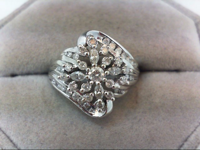 Lady's Diamond Cluster Ring 41 Diamonds 1.06 Carat T.W. 14K White Gold 5.2g