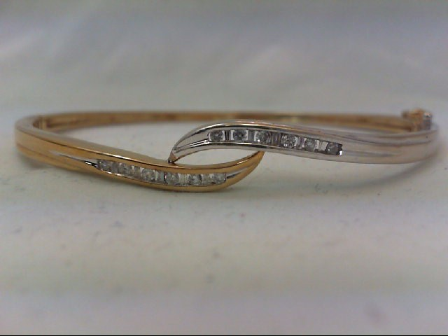 Gold-Diamond Bracelet 22 Diamonds .34 Carat T.W. 10K 2 Tone Gold 9.9g
