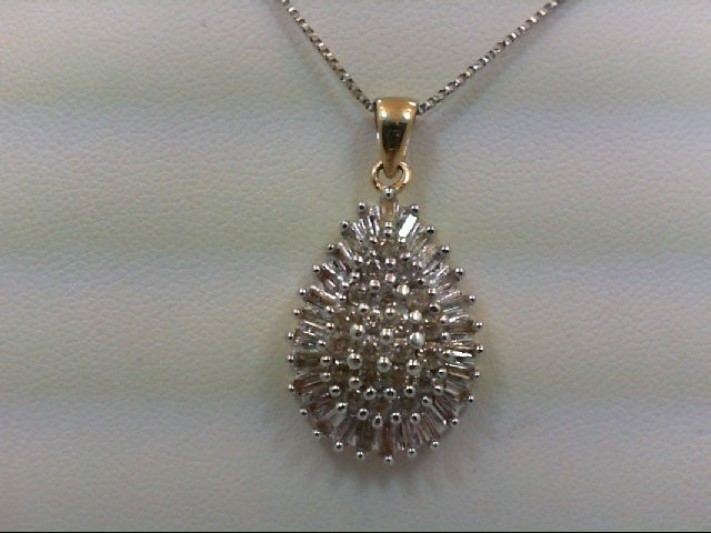 Gold-Multi-Diamond Pendant 47 Diamonds 0.94 Carat T.W. 10K 2 Tone Gold 5.6g