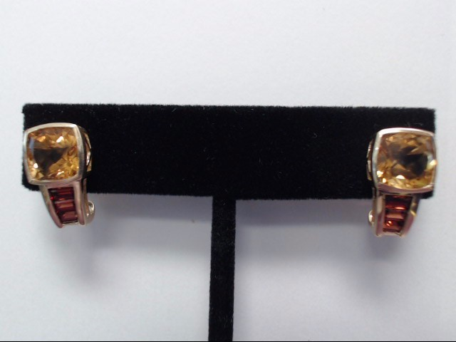 Synthetic Citrine Gold-Stone Earrings 14K Yellow Gold 4.6g
