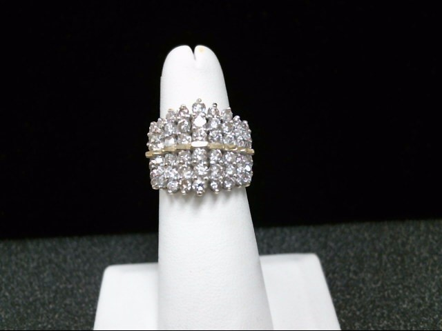 Lady's Diamond Cluster Ring 54 Diamonds 1.26 Carat T.W. 14K Yellow Gold 7.9g