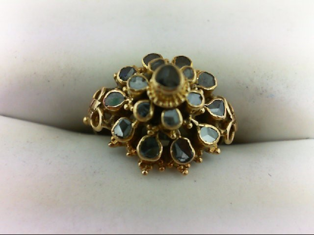 Lady's Diamond Cluster Ring 17 Diamonds .39 Carat T.W. 22K Yellow Gold 2.6g