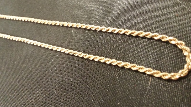 """16"""" Gold Rope Chain 14K Yellow Gold 3.9dwt"""