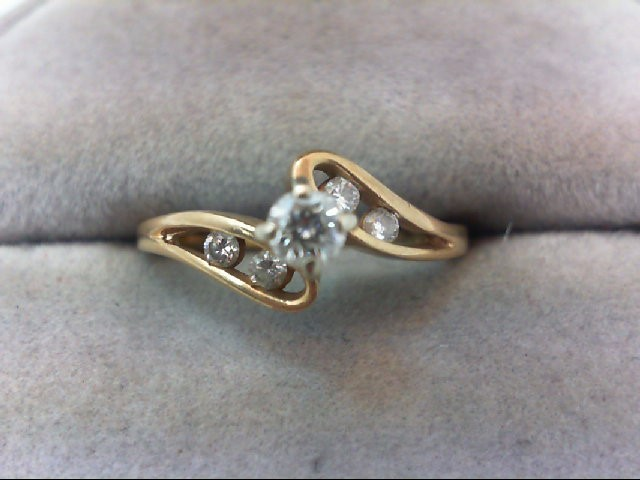 Lady's Diamond Engagement Ring 5 Diamonds .27 Carat T.W. 14K Yellow Gold 2.2g