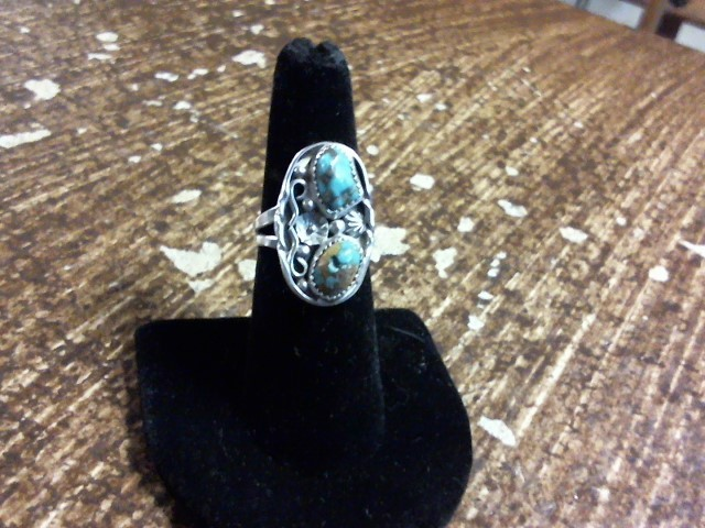 Turquoise Lady's Silver & Stone Ring 925 Silver 4dwt Size:7