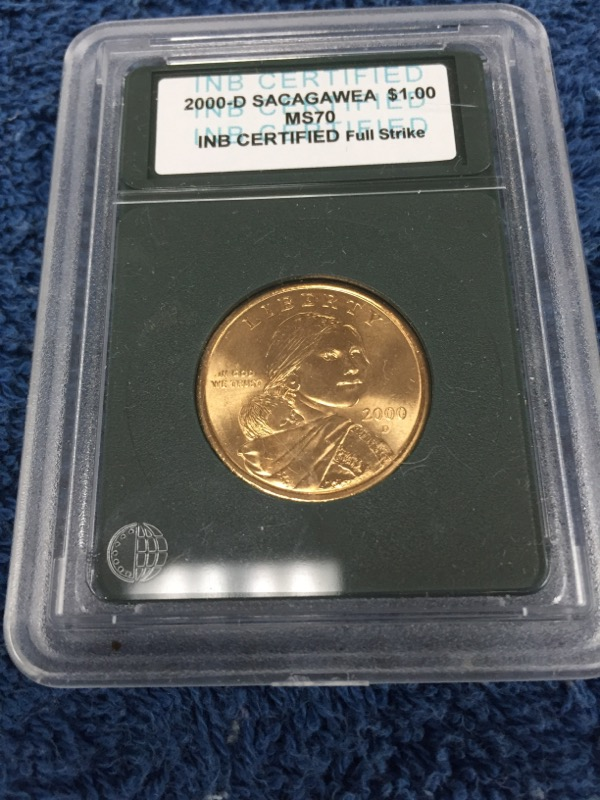 2000-D U.S. SACAGAWEA DOLLAR COIN, CERTIFIED (MS70)
