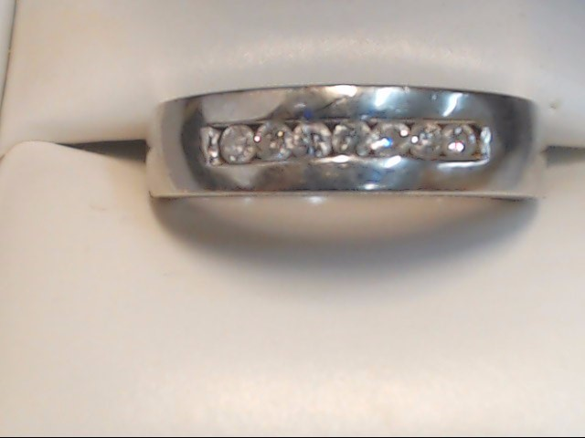 Gent's Gold-Diamond Wedding Band 7 Diamonds .35 Carat T.W. 14K White Gold 5.3g