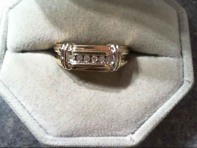 Gent's Gold-Diamond Wedding Band 6 Diamonds .12 Carat T.W. 10K 2 Tone Gold 4.3g