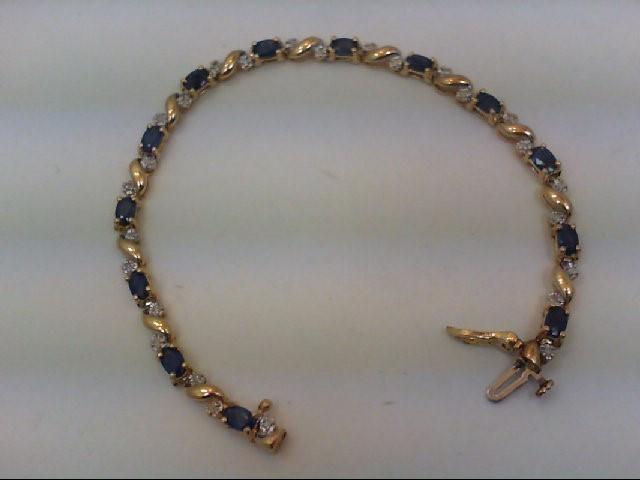 Sapphire Gold-Diamond & Stone Bracelet 26 Diamonds .26 Carat T.W.