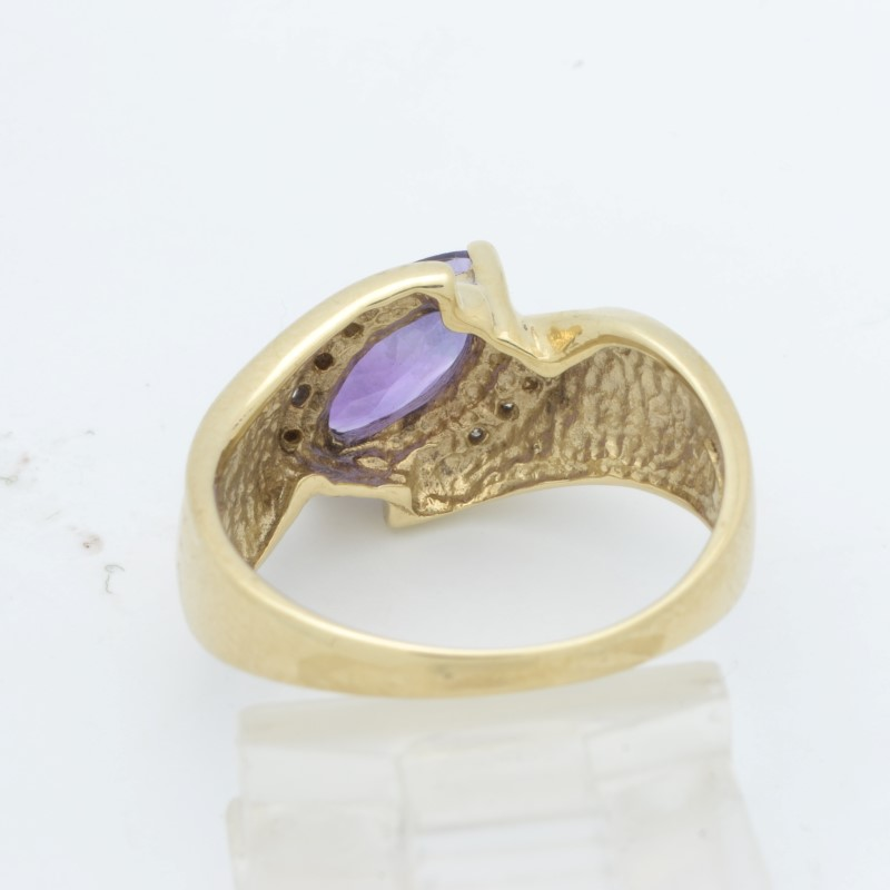 ESTATE AMETHYST PURPLE DIAMOND RING SOLID 10K GOLD MARQUISE SIZE 6.5
