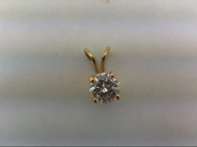 Gold-Diamond Solitaire Pendant .38 CT. 14K Yellow Gold 0.4g