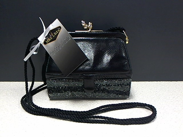 JUDITH LEIBER LEATHER & RHINESTONE TWO COMPARTMENT SHOULDER BAG