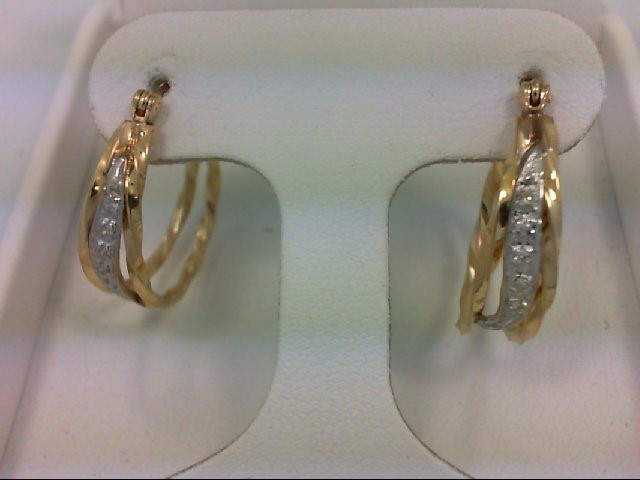 Gold-Diamond Earrings 10 Diamonds 0.1 Carat T.W. 14K Yellow Gold 2.8g