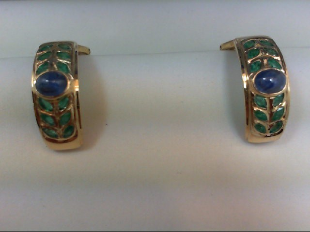 Sapphire Gold-Stone Earrings 18K Yellow Gold 9.4g