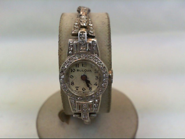 BULOVA Lady's Wristwatch 64 Diamonds .84 Carat T.W. 14K White Gold 12.6g