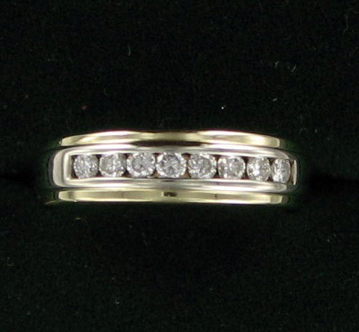 Gent's Gold-Diamond Wedding Band 8 Diamonds .48 Carat T.W. 14K Yellow Gold
