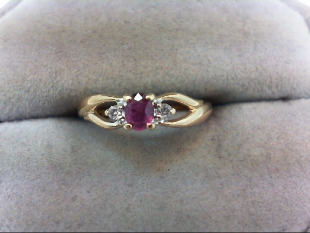 Ruby Lady's Stone & Diamond Ring 2 Diamonds .04 Carat T.W. 14K Yellow Gold 1.7g