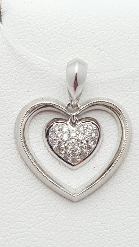 Gold-Multi-Diamond Pendant 14 Diamonds .14 Carat T.W. 14K White Gold 1.9g