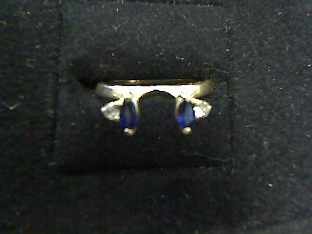 Sapphire Lady's Stone & Diamond Ring 2 Diamonds .10 Carat T.W. 14K Yellow Gold