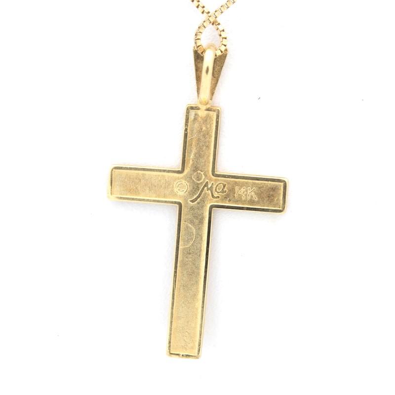 ESTATE CROSS SOLID 14K GOLD CHRISTIAN RELIGIOUS JESUS BRUSH DESIGN