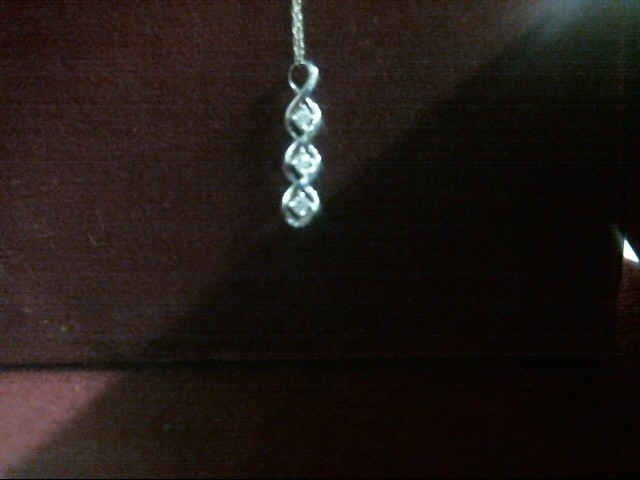 Diamond Necklace 3 Diamonds .18 Carat T.W. 10K White Gold 0.09dwt
